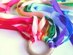Rainbow hand kite. Easy to make. Use party theme colors for festive decoration.
