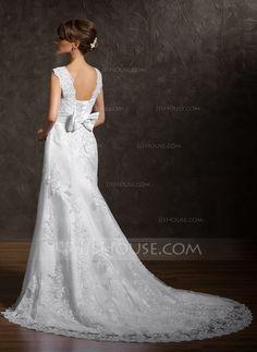 A-Line/Princess Square Neckline Chapel Train Satin Tulle Wedding Dress With Lace (002000631)