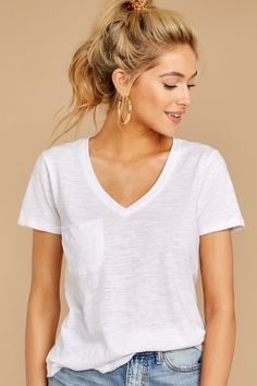 6ab6fb3dbdd9a Z Supply White Airy Slub Tee - Short Sleeve Pocket T Shirt - Top -  34