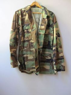 Vintage Military Issue Woodland Camo Camouflage BDU Jacket Shirt Marine Small #military #Military