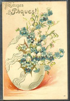 ~HB008 Paques GROS OEUF MUGUET LILY of the VALLEY MYOSOTIS Gaufrée RELIEF~