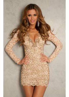 Holt Eli Nude & Champagne Gold Painted Lace Party Dress 295EU