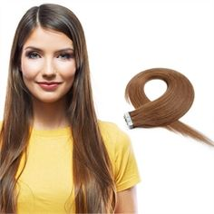 20pcs 50g Straight Tape In Hair Extensions #8 Light Brown TPMH006