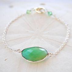 Green Chrysoprase Delicate Chain Bracelet by laurenamosdesigns, $24.00