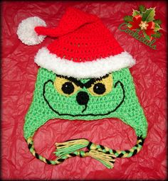 Crochet Christmas Santa Grinch Hat by CookieLids on Etsy,