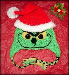 Crochet Christmas Santa Grinch Hat by CookieLids on Etsy,
