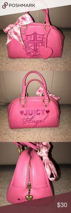 "Juicy Couture Pink Handbag Satchel Juicy Couture Juicy Angel Pink Leather Handbag in gently Used Condition.  This bag has only a little bit of wear around the edges but does not detract from the beauty of this bag. It looks new inside and for the most part outside as well. It has a mirror inside the bag as well as pockets on both sides, one pouch for a phone that says ""hello"" Embroidered on it. Feel free to ask any questions. ALL my items are from a SMOKE FREE HOME!!!!!! Juicy Couture Bags…"