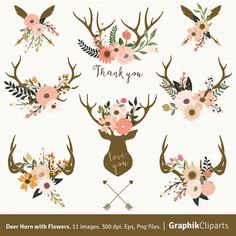 Deer Horn with Flowers. Floral Antlers Clip Art. Rustic Wedding Stationery. Wedding. 8 images, 300 dpi. Eps, Png files. Instant Download.