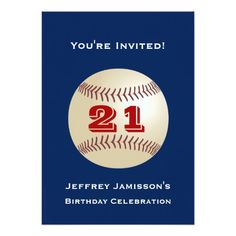 21st Birthday Party Invitation Baseball Personalized Invites