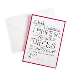 """Cheree Berry Paper """"Will You Be My Bridesmaid?"""" Wedding Card Packs - 6 count, Black"""