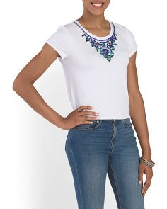 image of Beaded Neckline Cropped Tee
