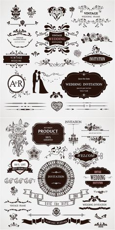 122 best wedding invitations cards backgrounds images on pinterest wedding decor frames dividers tape silhouettes of bride and groom flower stopboris Images