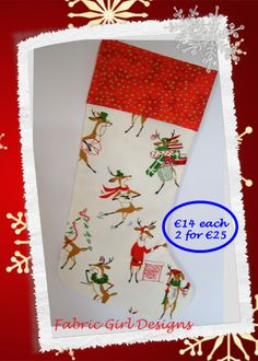 www.facebook.com/fabricgirldesigns Reindeers Christmas stocking, 16 x 9 inches, 100% cotton, fully lined with hanging loop. Machine washable. Matching bunting available.