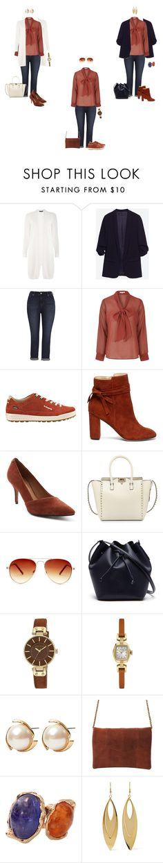 """Rust bow blouse/jeans 1"" by tracy-gowen ❤ liked on Polyvore featuring Dorothy Perkins, Melissa McCarthy Seven7, Glamorous, Sole Society, Nanette Lepore, Valentino, Steve Madden, Lacoste, Anne Klein and Louche"