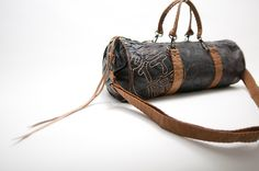 Black and tan duffle / barrel tote (big enough to fit your iPad!)