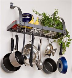 Pot Racks - Rack It Up Collection MPB-06 Series Bookshelf Pot Rack in Hammered Steel Finish by Enclume | KitchenSource.com