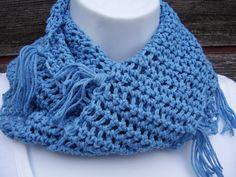 Infinity Scarf Cotton Blend Blue Scarf | Etsy Crochet Gifts, Hand Crochet, Hand Knitting, Crochet Top, Handmade Shop, Etsy Handmade, Creative Gifts, Creative Ideas, Sport Weight Yarn