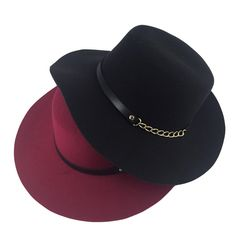 11bd01aa8d058 2017 cappelli women ladies floppy sombrero felt vintage fedora hats for  women red black wide brim church hat with pu belt chain-in Fedoras from  Women s ...