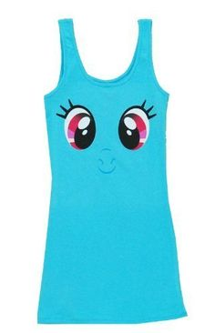Show everyone what a super Brony you are when it comes to all things Rainbow Dash when you wear this officially-licensed Rainbow Dash Big Face Tank Dress.  Sport Rainbow Dash's face across this great dress at BronyCon and you'll turn heads when everypony sees you prancing around the convention hall.