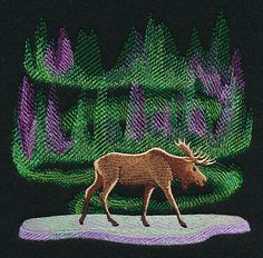 Northern Lights Moose design (M10769) from www.Emblibrary.com