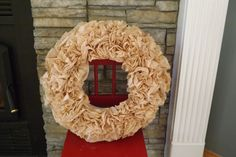 Brown Coffee Filter Wreath,