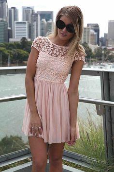 Pale pink lace dress #BeautyForBreastCancer #FragranceNet