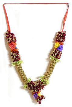 Red and Golden Ribbon Garlandwith Multicolor Roses (Silk Ribbon) Flower Garland Wedding, Flower Garlands, Wedding Invitation Background, Hindu Rituals, Diwali Craft, Create Invitations, Pom Pom Garland, Silk Ribbon, Backdrops