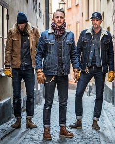 mens fashion rugged looks great 82600 Denim Look, Raw Denim, Blue Denim, Denim Jeans, Denim Shirts, Denim Style, Mode Rockabilly, Mode Man, Modern Mens Fashion