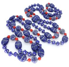 Vintage Art Deco Czech Neiger Brothers Blue Scarab Egyptian Revival Glass Bead Necklace | Clarice Jewellery