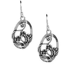 Or Paz Sterling Oval Floral Openwork Dangle Earrings