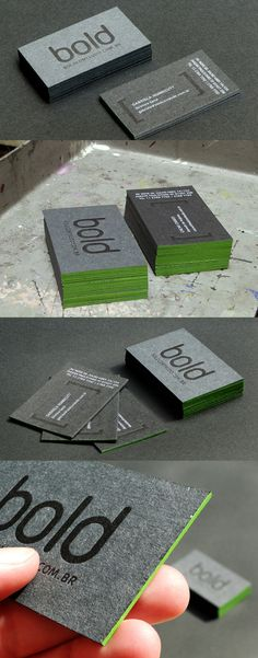 Nice dark grey textured paper business cards, glossy foil printed, thick laminated with green core