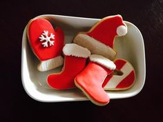 Candy cane with Santa's hat, gloves, stockings