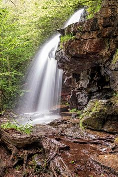Cave Falls along the Glen Onoko Falls Trail, Pennsylvania waterfall. Landscape, nature, outdoors, photography, photos, beauty, beautiful, scenic, waterfalls, spring, long exposure, hiking, hikes, trails, rugged, Lehigh Gorge State Park, State Game Lands, rugged, adventure. #landscapephotography #waterfall #pennsylvania