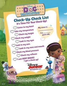 Bring the Doc McSuttfins Check-Up Check List to your little one's next appointment. - Disney Junior