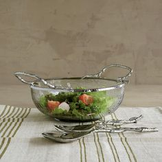 Nickel-Plated Branch Glass Salad Bowl | The Company Store