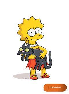 Lisa Simpson with Snowball II Lisa Simpsons, The Simpsons Movie, Simpsons Characters, Simpsons Art, Simpsons Quotes, Simpsons Drawings, Simpsons Tattoo, Caricature, Lady Sif