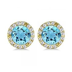 1.15 Ct Round Cut Blue Topaz & Diamond Earrings Halo 14K Yellow Gold by JewelryHub on Opensky