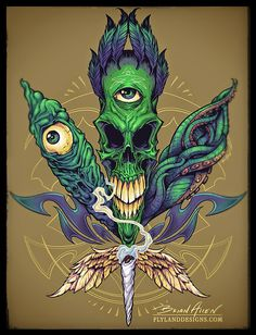 Alien Skull Pot Leaf T-Shirt on Behance