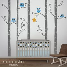 """Owl forest tree with leaves and birdhouse wall decal for blue & grey nursery. SIZE whole visual Size (approx) : 115""""w x 101""""h WHATS INCLUDED • 5 trees • 4 owls • leaves • birdhouse • Installation Instruction • Test Decal -------------------- tree trees, birds and leaves come"""