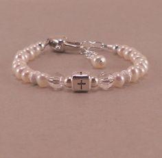 Baby Baptism Bracelet, christening, pearl, pearls, personalized, childrens jewelry, girl bracelets, goddaughter gift, for niece, cross via Etsy