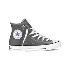 Converse Chuck Taylor All Star High Top Sneaker - Charcoal Casual... ($55) ❤ liked on Polyvore featuring shoes, sneakers, black, black shoes, black high-top sneakers, high top shoes, converse trainers and black hi tops