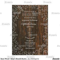 Barn Wood + Baby's Breath Rustic Wedding Rehearsal Card