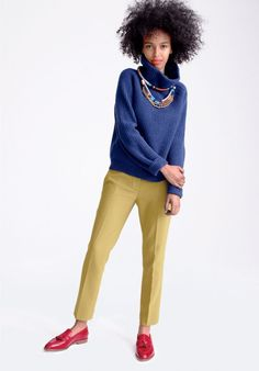 Fashion culture --- J.Crew women's Campbell capri in bi-stretch wool, and Biella tassel loafers. To preorder call 800 261 7422 or email erica@jcrew.com.