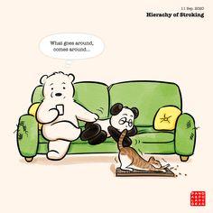 Polar Bear Drawing, Polar Bear Cartoon, Cute Panda Cartoon, Panda Love, Panda Bear, Love Illustration, Funny Comics, Funny Cute, Cute Drawings