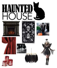"""haunted house"" by kiadian ❤ liked on Polyvore featuring interior, interiors, interior design, home, home decor, interior decorating, Elrene Home Fashions, Alexander McQueen, Grandin Road and Mineheart"