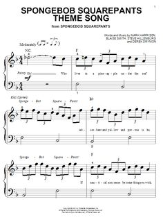 spongebob squarepants sheet music with lyrics - Google Search