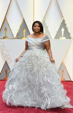 Weddings & Events Frank Octavia Spencer Celebrity Dresses The 89th Academy Awards Oscar 2017 Red Carpet Silver Satin Lace Celebrity Gowns Feathers Dress