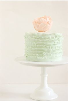 peach and mint green cake