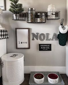 Nola asked that her puppy station be decorated for Christmas and how could I tell her cute furry little face no? Love my little Santa Paws. Animal Room, Animal Decor, Modern Farmhouse Bedroom, Farmhouse Decor, Dog Room Decor, Dog Toy Storage, Dog Bedroom, Puppy Room, Pet Corner