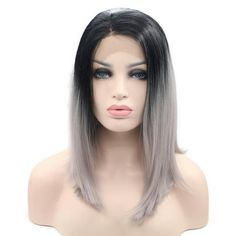 Yiyaobess 12inch Medium Length Straight Ombre Lace Front Wig Synthetic Colorful Bob Wigs For Black Women High Temperature Fiber